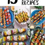 "Pinterest graphic with text overlay reading ""15 camping skewer recipes"""