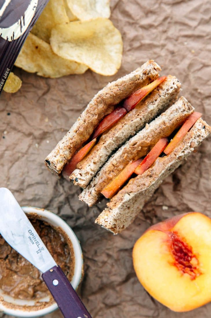 Almond butter and peach sandwich