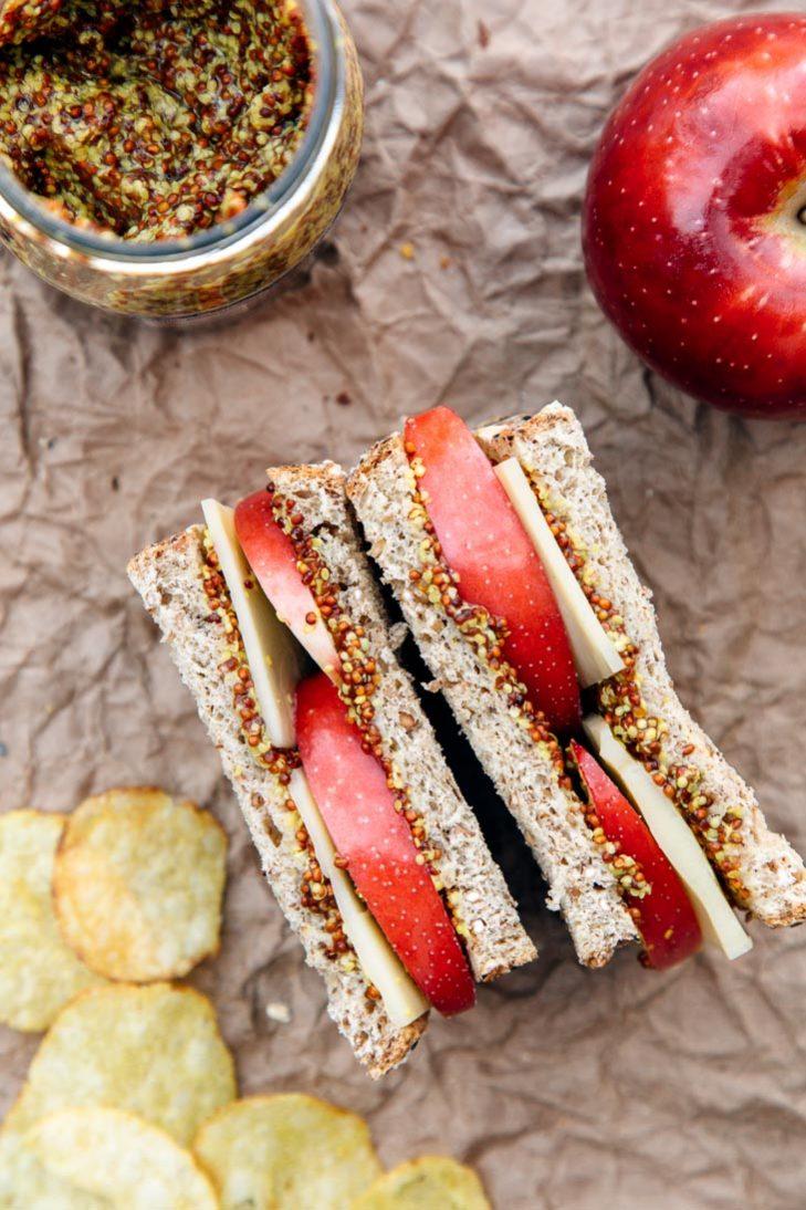 Apple, cheddar, and whole grain mustard sandwich