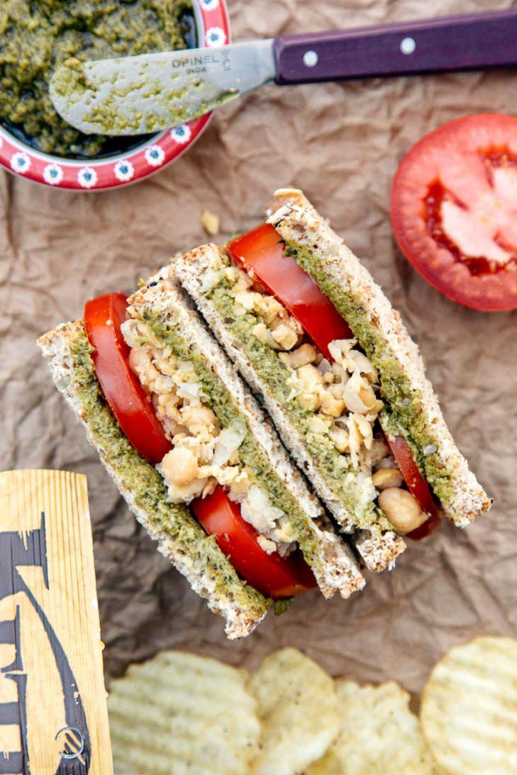 Chickpea, pesto, and tomato sandwich