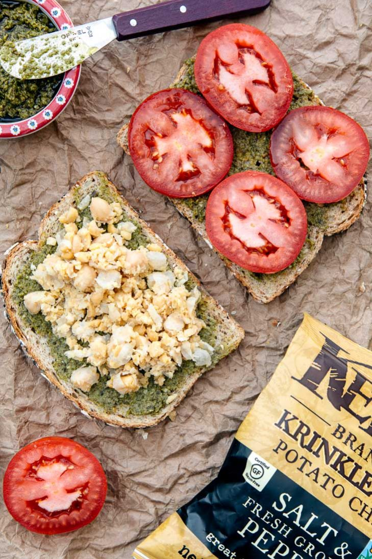 Chickpea, pesto, and tomato sandwich