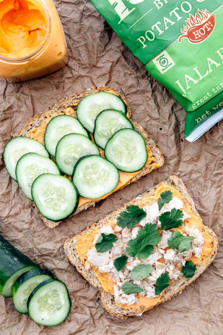 Spicy mayo, tuna, and cucumber sandwich