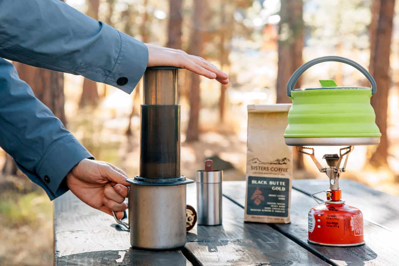 The easiest way to enjoy an incredible cup of coffee while on the road, the AeroPress is our go-to camping coffee maker.
