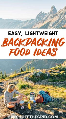 """Pinterest graphic with text overlay reading """"Easy lightweight backpacking food ideas"""""""