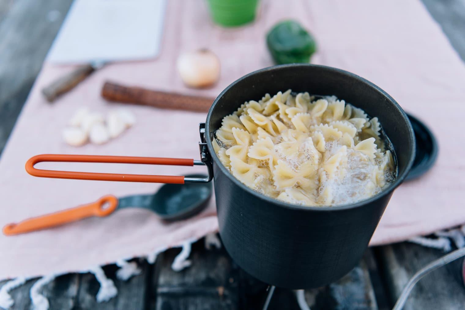 A camp pot of pasta