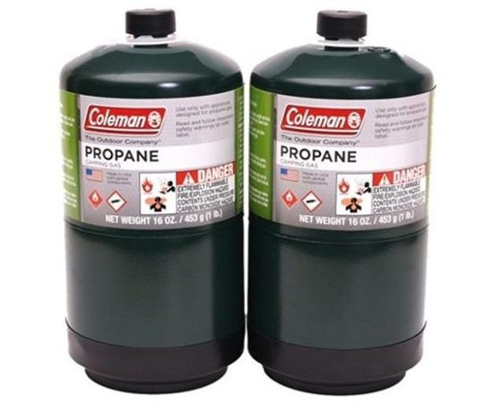 Two camp stove propane bottles