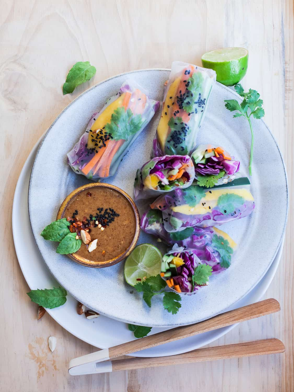 These summer rolls (aka fresh spring rolls) with almond butter satay are great for picnics and camping trips!