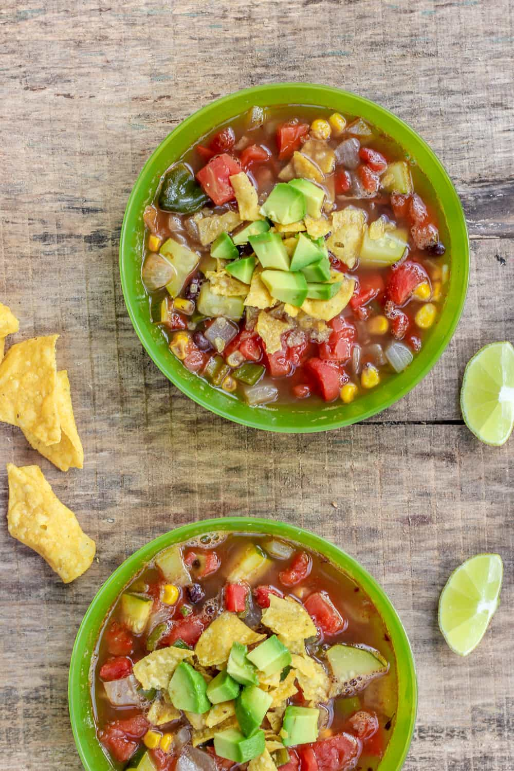 Two bowls of tortilla soup