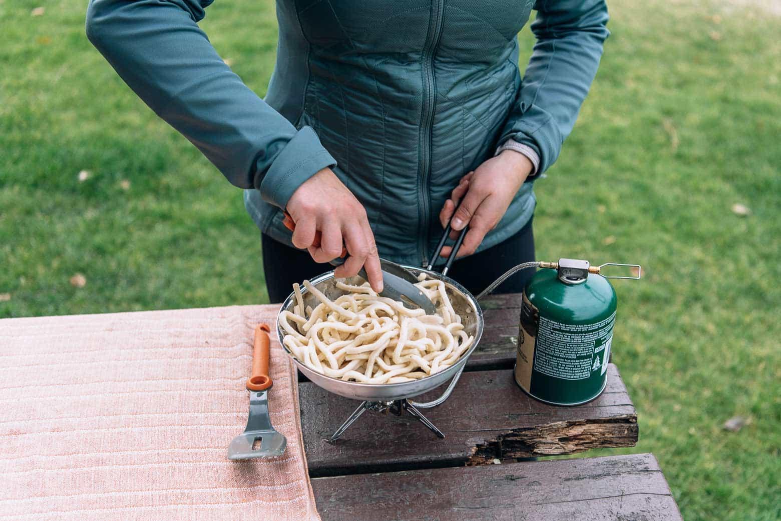 Noodles in a skillet for stir fry