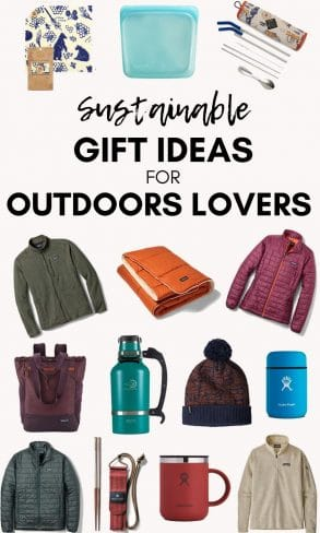 """Pinterest graphic with text overlay reading """"Sustainable gift ideas for outdoor lovers"""""""