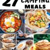 "Pinterest graphic with text overlay reading ""27 easy camping meals"""