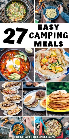 """Pinterest graphic with text overlay reading """"27 easy camping meals"""""""