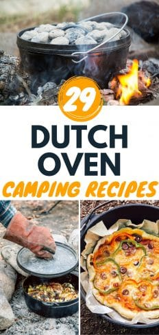 "Pinterest graphic with text overlay reading ""29 Dutch Oven Camping Recipes"""