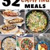 """Pinterest graphic with text overlay reading """"52 delicious camping meals"""""""
