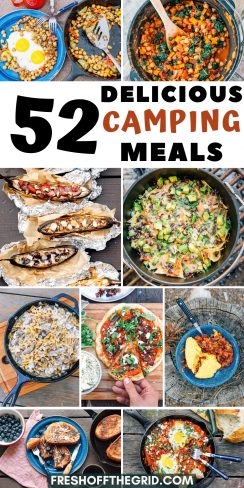 "Pinterest graphic with text overlay reading ""52 delicious camping meals"""