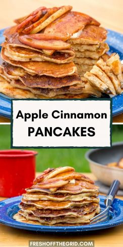 "Pinterest graphic with text overlay reading ""Apple cinnamon pancakes"""