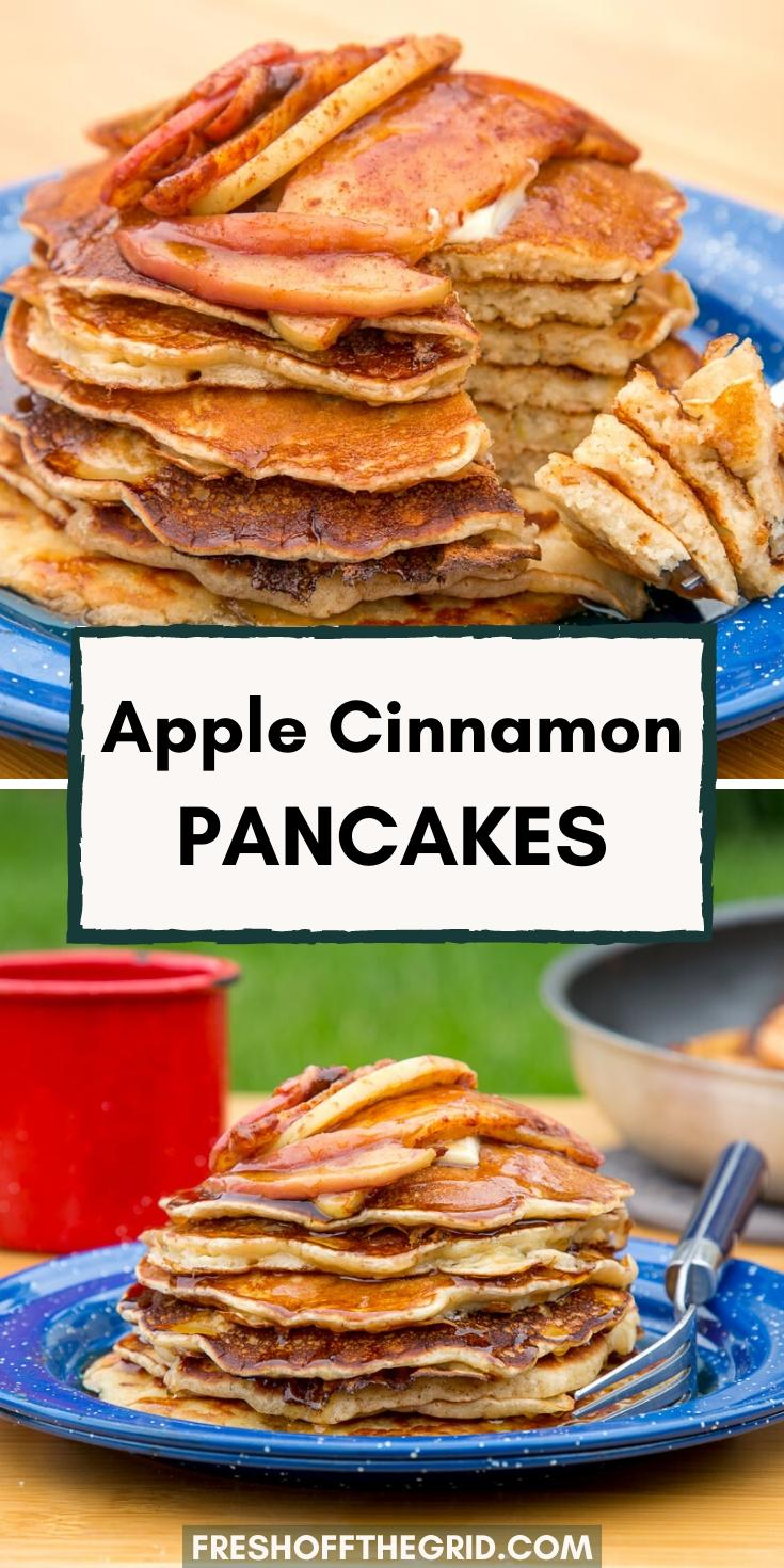 Light, fluffy, and layered with incredible apple flavor, these cinnamon apple pancakes are the ultimate fall weather camping breakfast. If you like spiced apple cider, you're going to LOVE these pancakes! Pancake recipe | Camping food ideas | Family camping meals via @freshoffthegrid