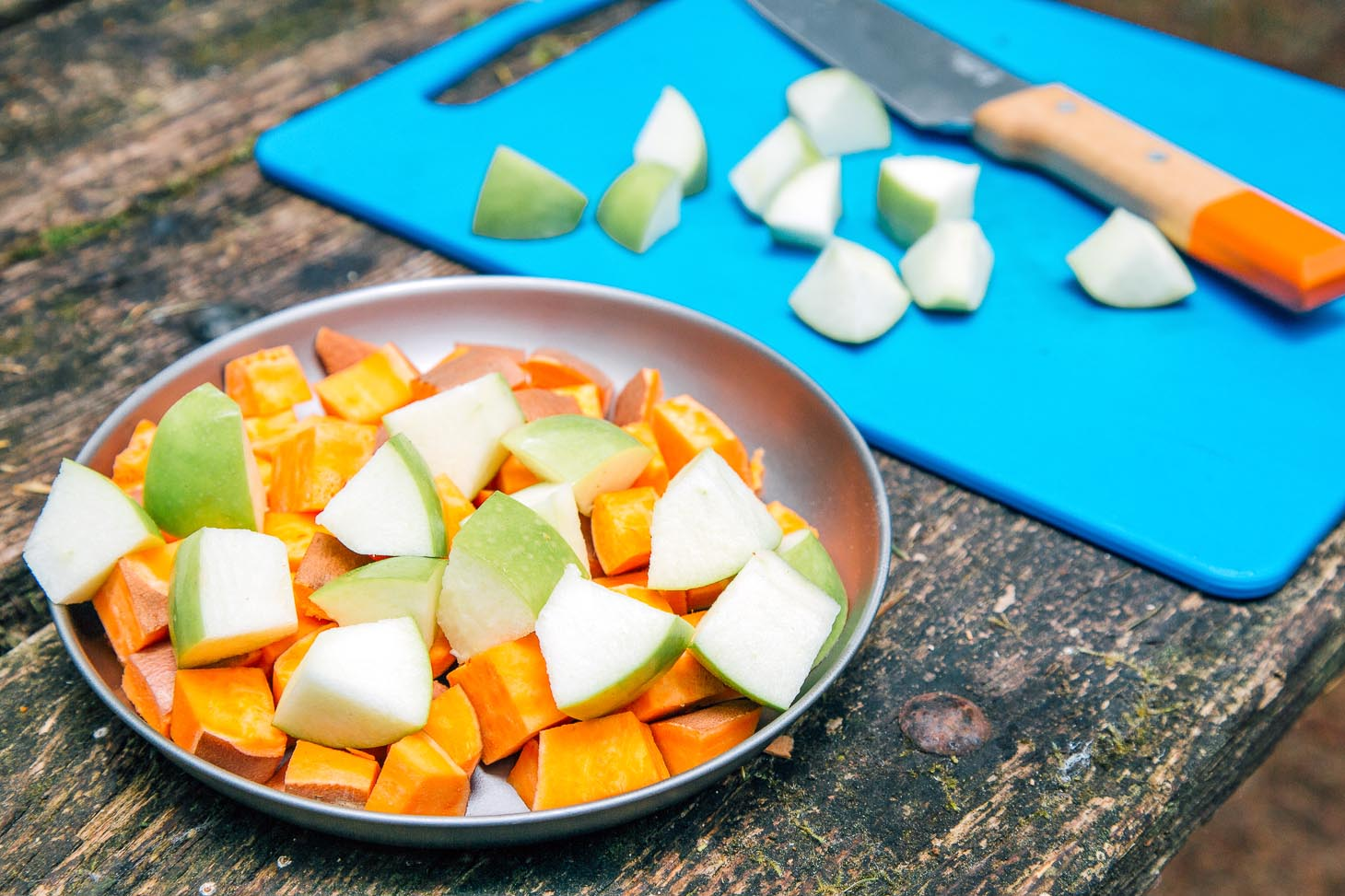 Chopped apples and sweet potatoes.