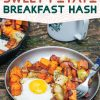 """Pinterest graphic with text overlay reading """"Apple and sweet potato breakfast hash"""""""