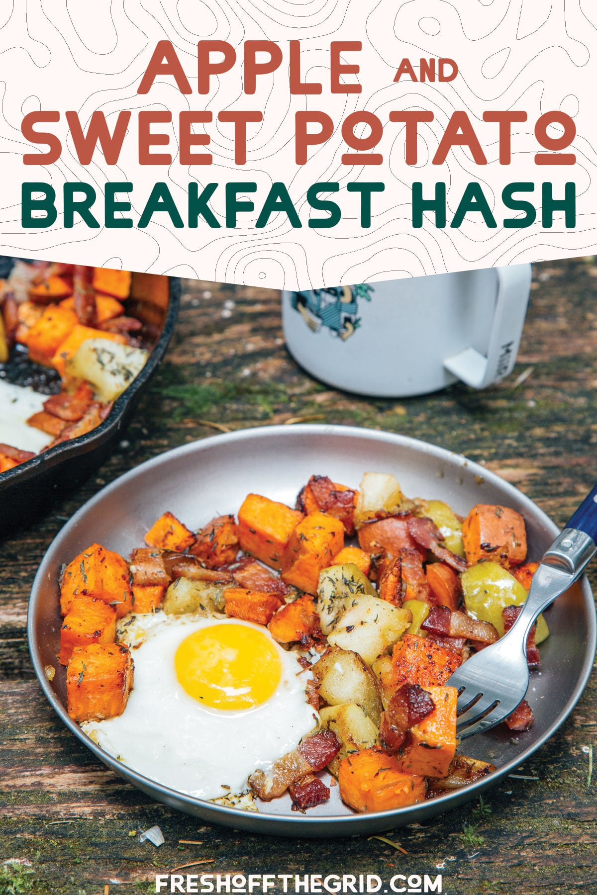 This autumn inspired breakfast hash is packed with sweet potatoes, apples, bacon and eggs for a nutritious and filling breakfast perfect for chilly mornings. We love making this on fall camping trips! via @freshoffthegrid