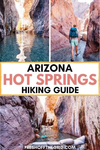 """Pinterest graphic with text overlay reading """"Arizona hot springs hiking guide"""""""