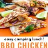 """Pinterest graphic with text overlay reading """"Easy camping lunch BBQ Chicken Quesadillas"""""""