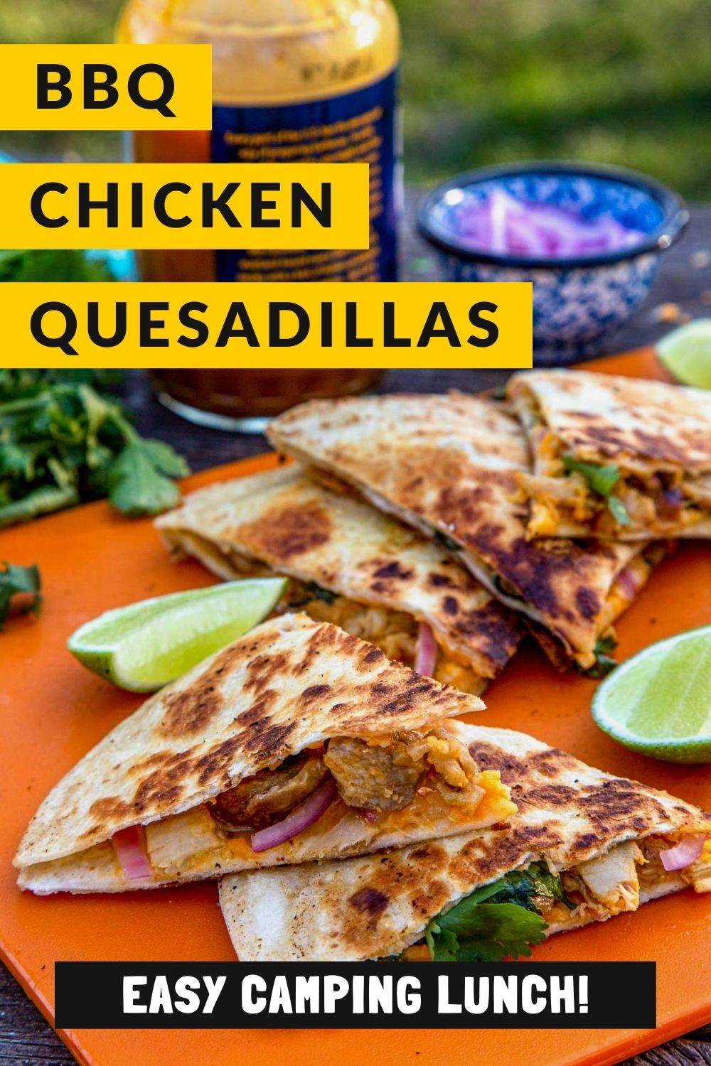 This simple BBQ Chicken Quesadilla recipe is such an easy camping lunch idea! This is a great option for kids and adults alike. Camping food   Easy camping meal via @freshoffthegrid