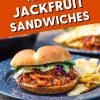 "Pinterest graphic with text overlay reading ""Vegan BBQ Jackfruit Sandwiches"""
