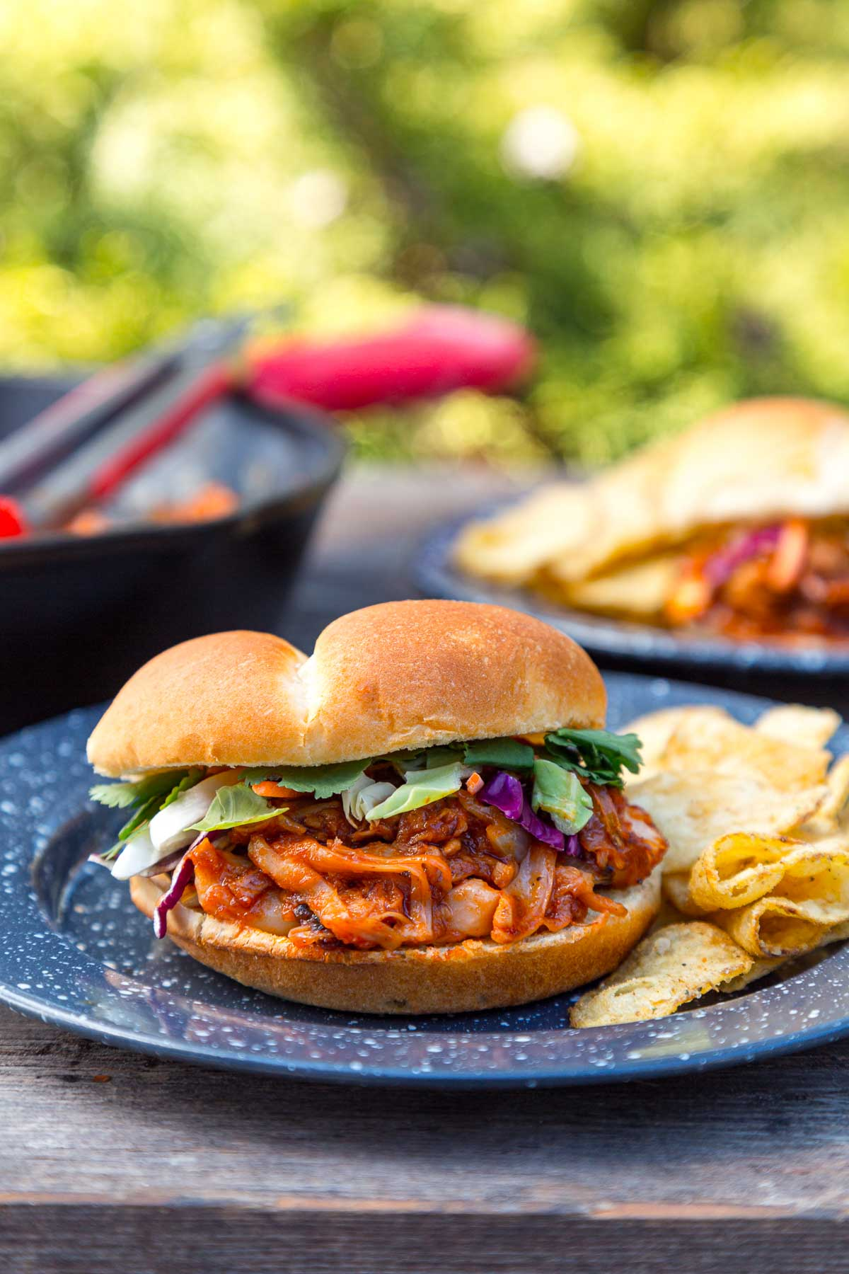 A BBQ Jackfruit Sandwich on a camping plate with a skillet in the background
