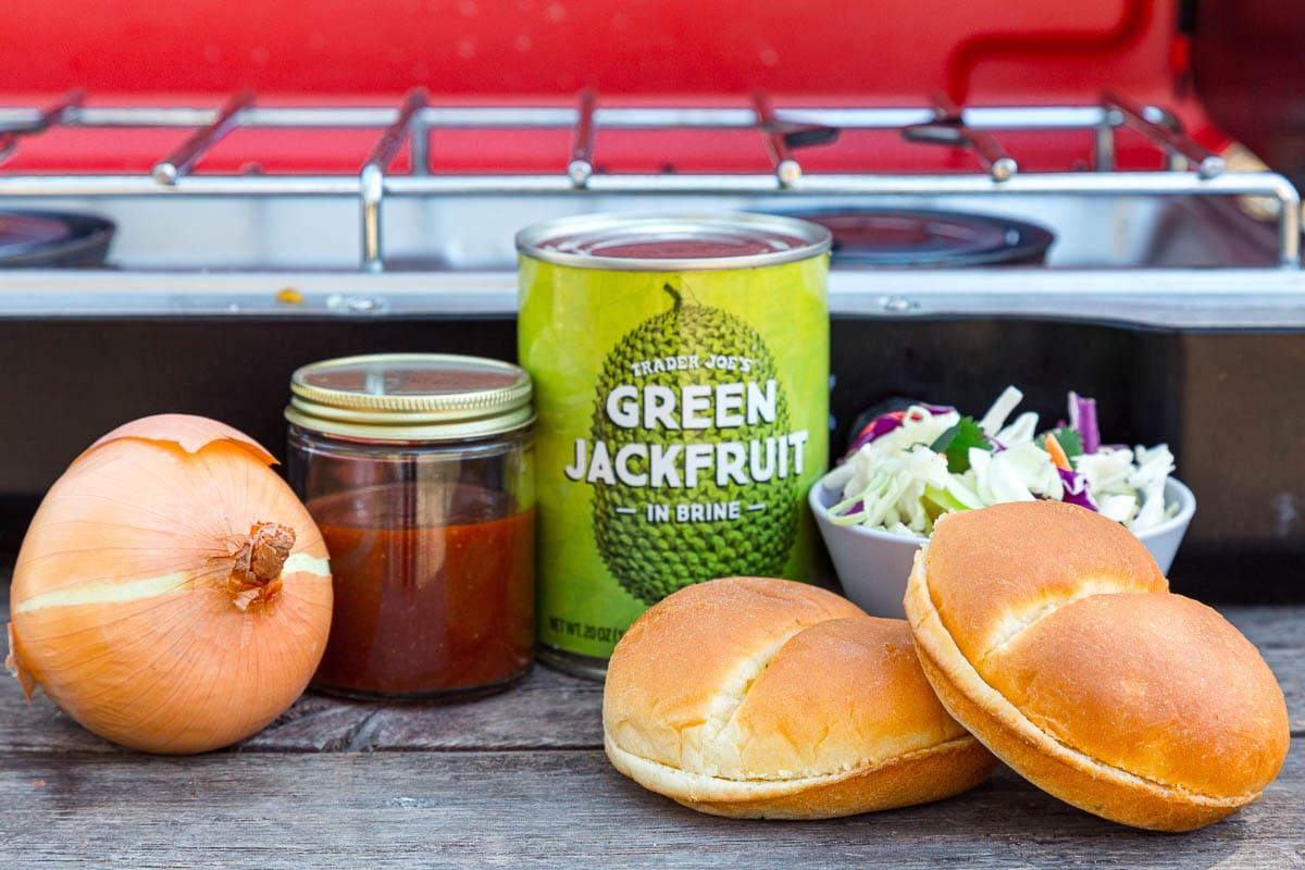 Ingredients to make bbq jackfruit sandwiches