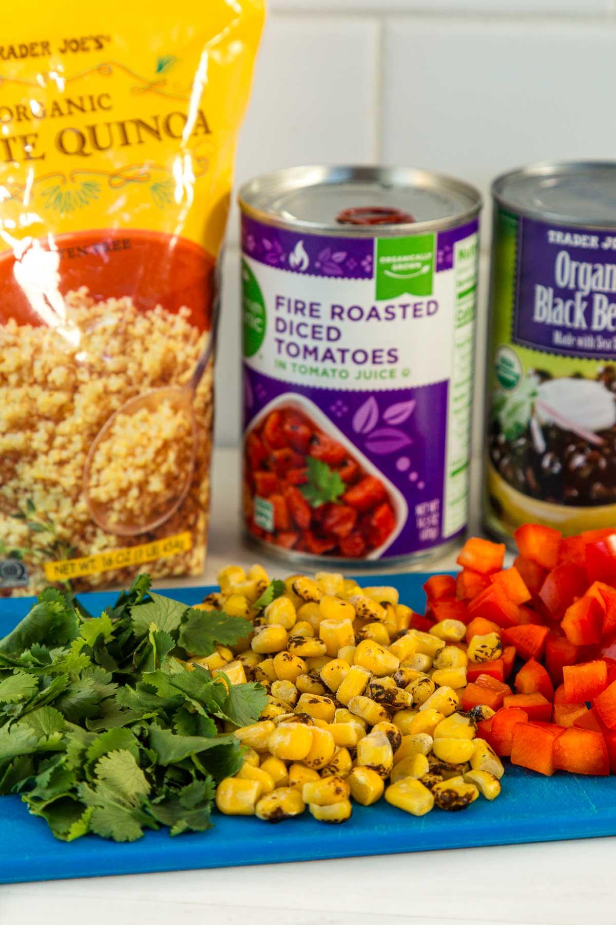 Ingredients for quinoa burrito bowls