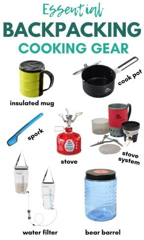"Pinterest graphic with text overlay reading ""Essential Backpacking Cooking Gear"""