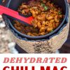 """Pinterest graphic with text overlay reading """"Dehydrated Chili Mac make your own backpacking food"""""""
