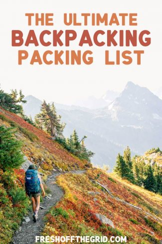"Pinterest graphic with text overlay reading ""The Ultimate Backpacking Packing List"""
