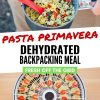 "Pinterest graphic with text overlay reading ""Pasta primavera dehydrated backpacking meal"""