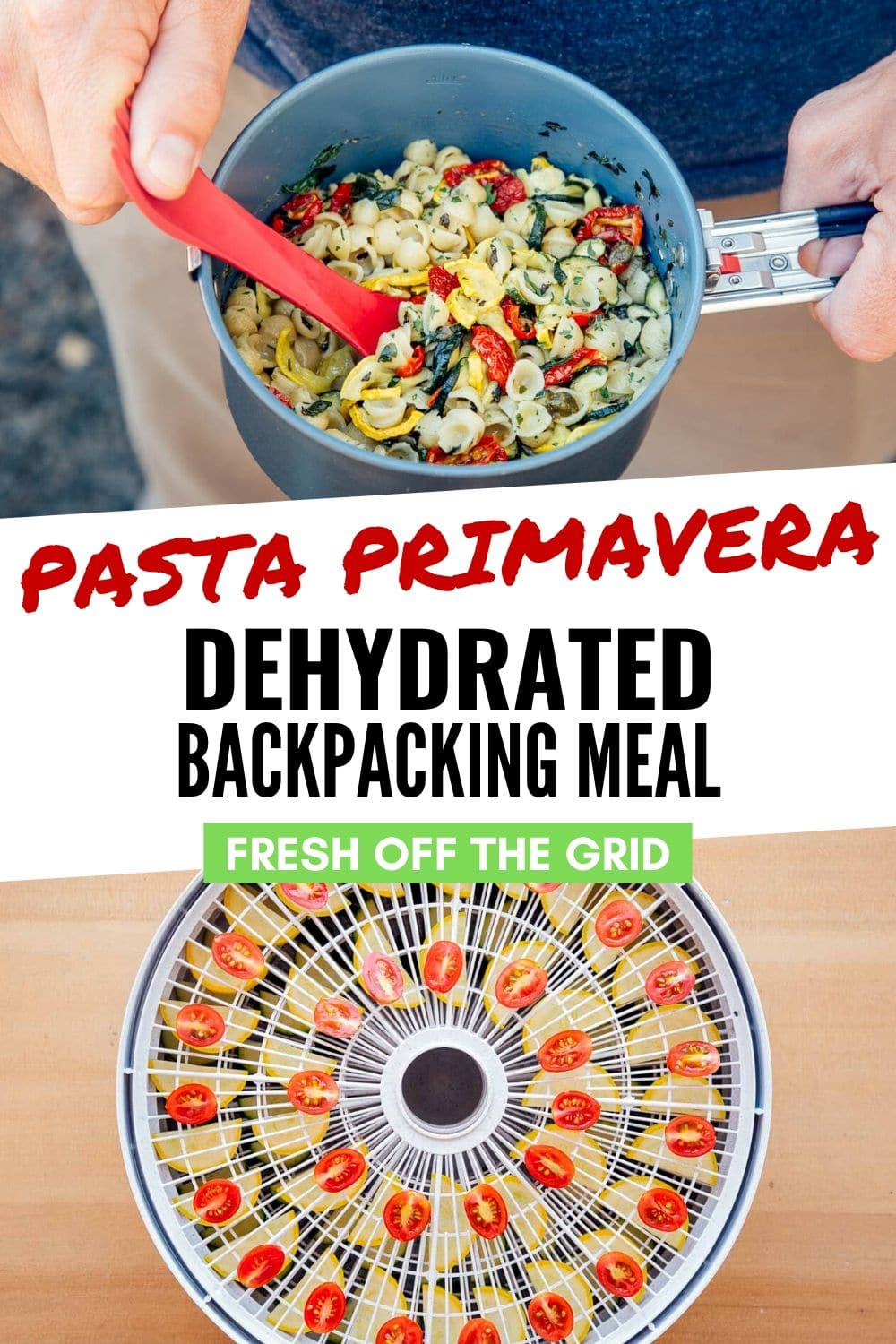 Fresh and filling, this dehydrated pasta primavera is not your typical backpacking food. Loaded with zucchini, summer squash, and tomatoes, this meal offers that burst of vegetables that you've been craving after a few days on the trail. This will quickly become one of your favorite dehydrator recipes! via @freshoffthegrid
