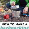 "Pinterest graphic with text overlay reading ""How to make a backpacking pot cozy to save fuel on the trail"""