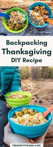 """Pinterest graphic with text overlay reading """"Backpacking Thanksgiving DIY recipe"""""""