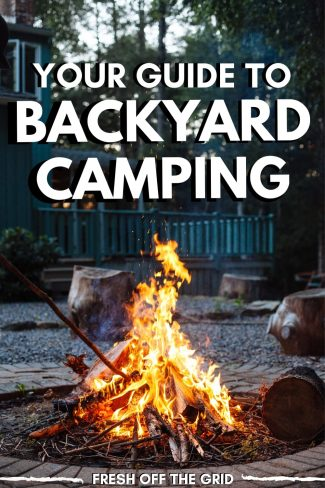 "Pinterest graphic with text overlay reading ""Your guide to backyard camping"""