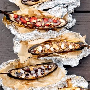 Three banana boats in foil