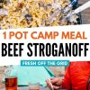 """Pinterest graphic with text overlay reading """"One pot camping meal beef stroganoff"""""""