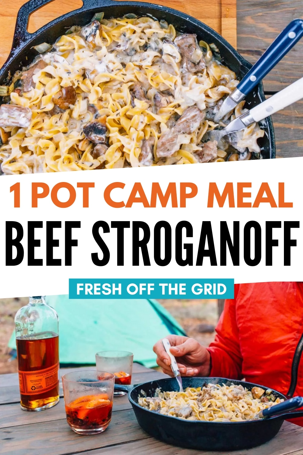 This One Pot Beef Stroganoff is a perfect camping meal! The best beef stroganoff is creamy, savory, and full of tasty beef and noodles, and this recipe DELIVERS! This is camping food at its finest. via @freshoffthegrid