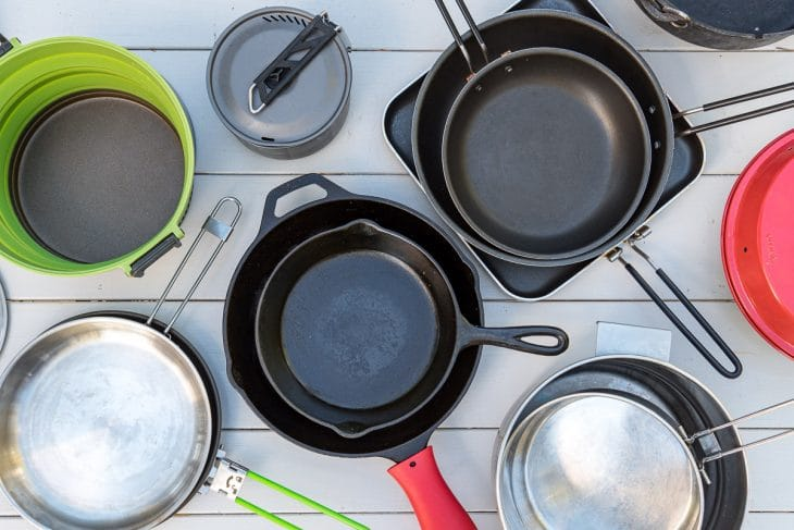 Camping pots and pans on a table