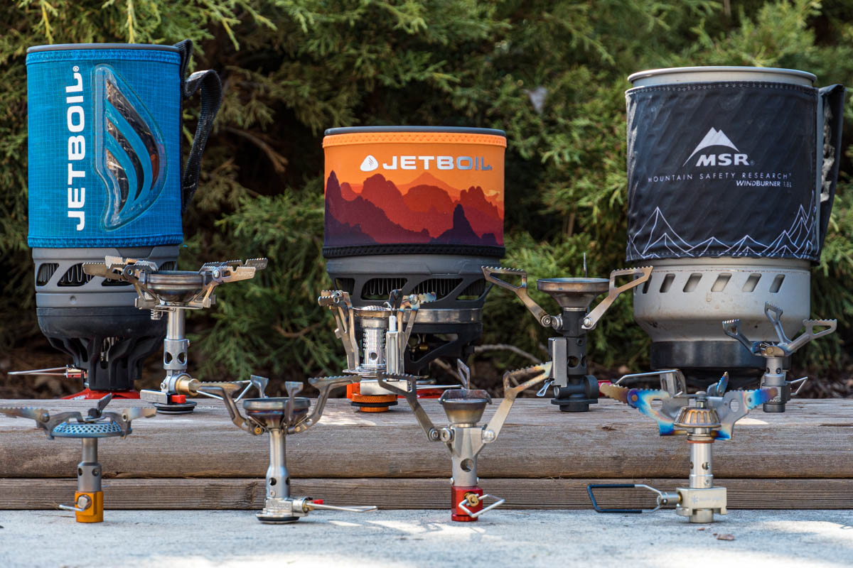 All the backpacking stoves we tested lined up