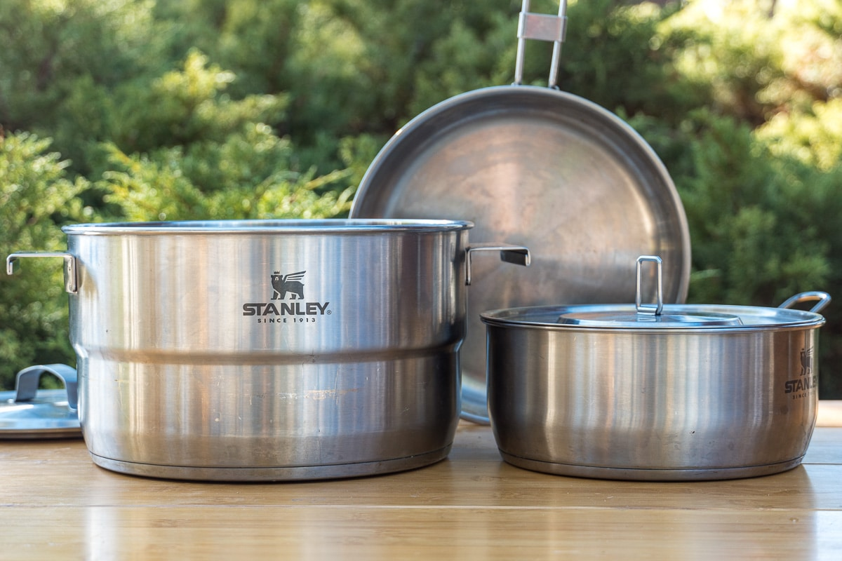 Stanley camping cookware set with two pots and a pan