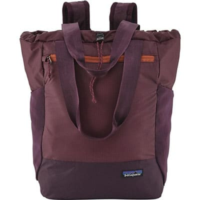 Purple tote with backpack straps