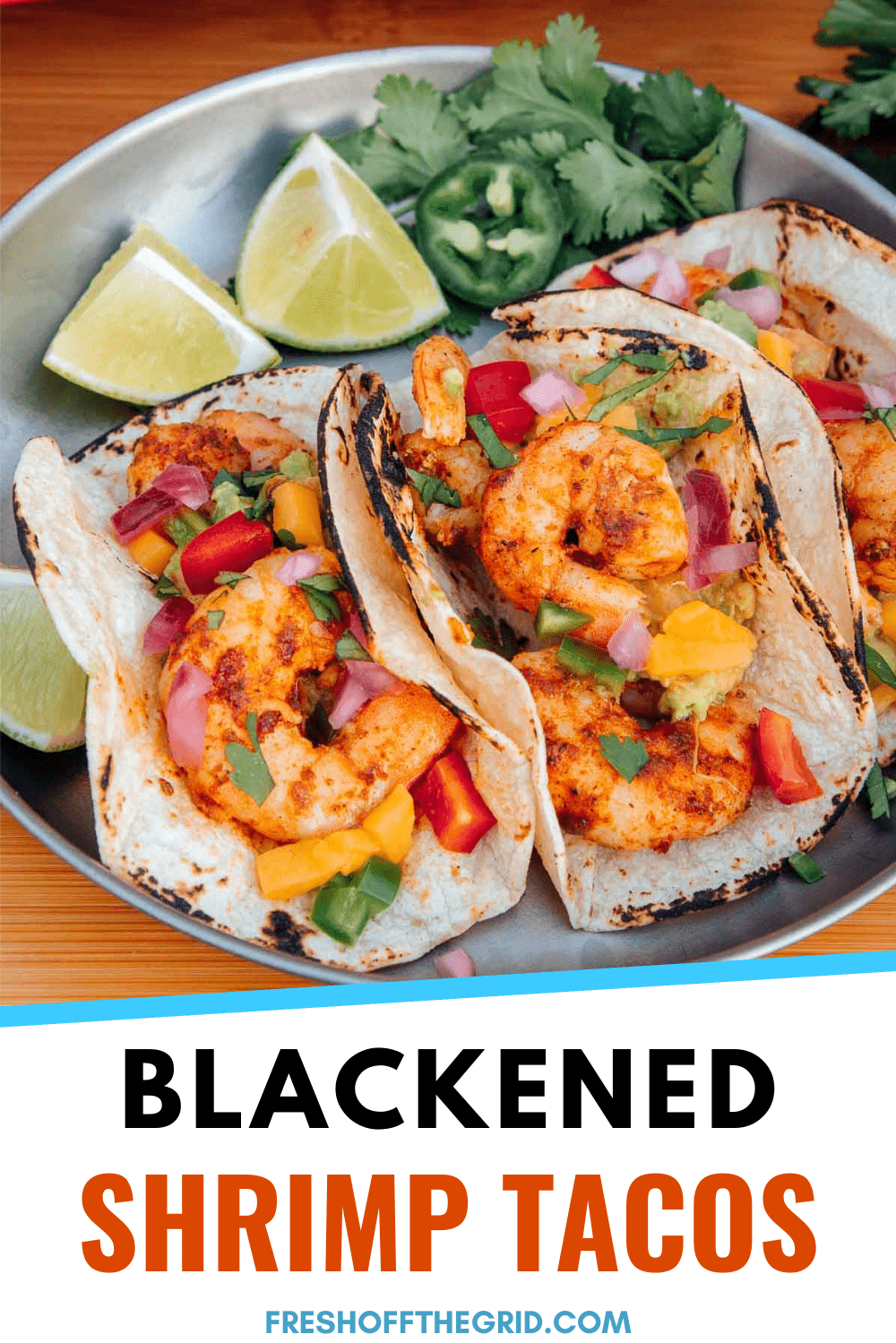 This Blackened Shrimp Tacos recipe is so EASY to make while camping! Slightly spicy Cajun seasoning gives these tacos big flavor while coming together in one pan and under 15 minutes! via @freshoffthegrid