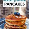 """Pinterest graphic with text overlay reading """"Camping Blueberry Banana Pancakes"""""""