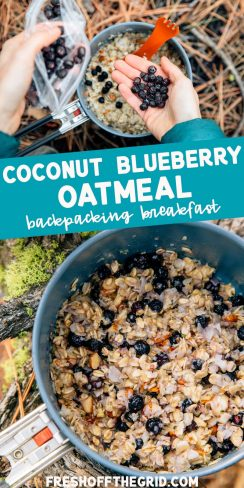 "Pinterest graphic with text overlay reading ""Coconut blueberry oatmeal backpacking breakfast"""