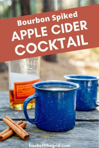 "Pinterest graphic with text overlay reading ""Bourbon spiked apple cider cocktail"""